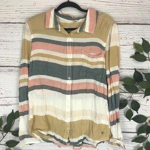 Roxy Size Medium Button Down Striped Pastel Collar